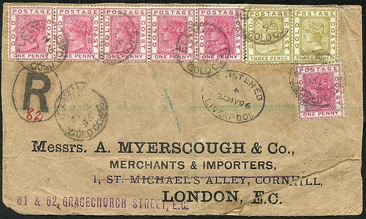 1896 (2 May) 'Myerscough' quadruple rate envelope reg to London,