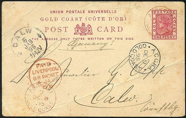1895 (8 Dec) 1d stationery card to Germany, neatly cancelled by '