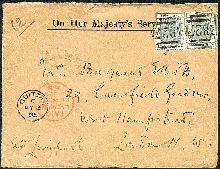 1898 (3 May) OHMS envelope to London, bearing 1884-91 ½d green