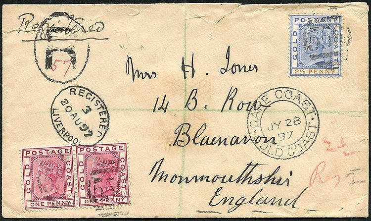 1897 (28 July) envelope reg to England, bearing 1884-91 1d pair