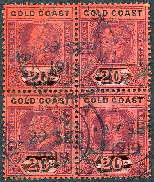 1913-21 20s purple & black on red block of four, crossed by blue