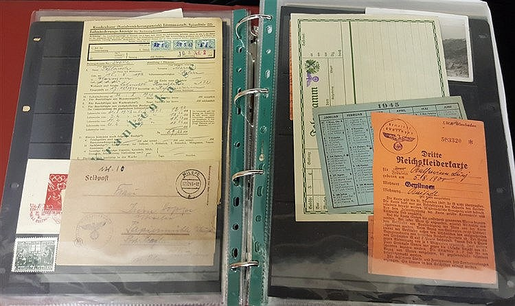 Germany WWII album containing an unusual array of war time items