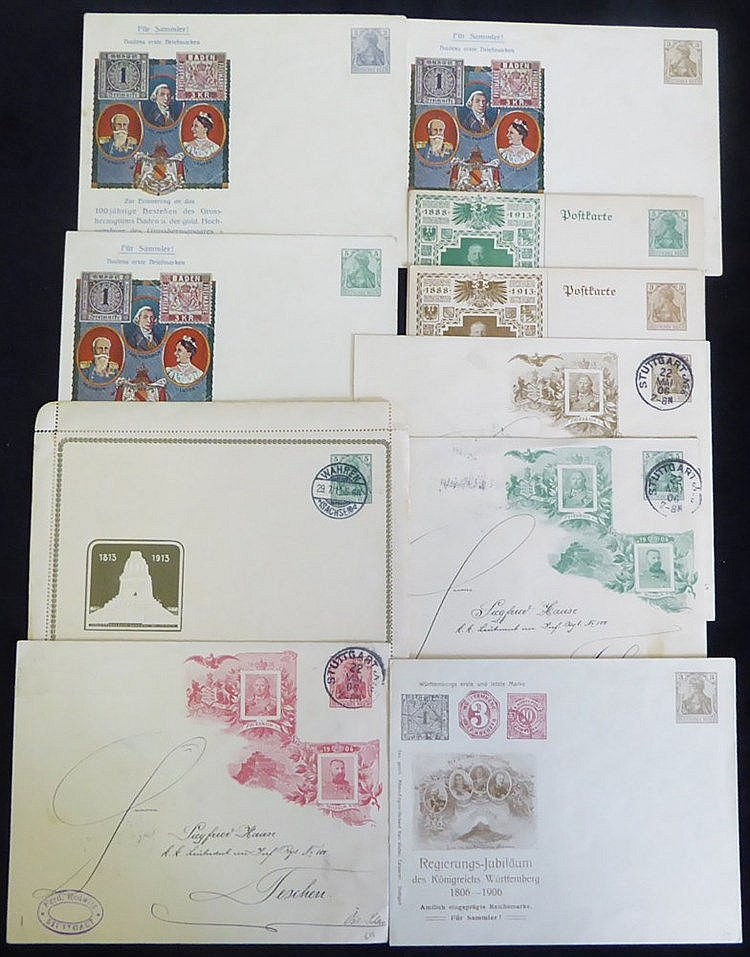 Germania frankings & stationery incl. private commemorative types