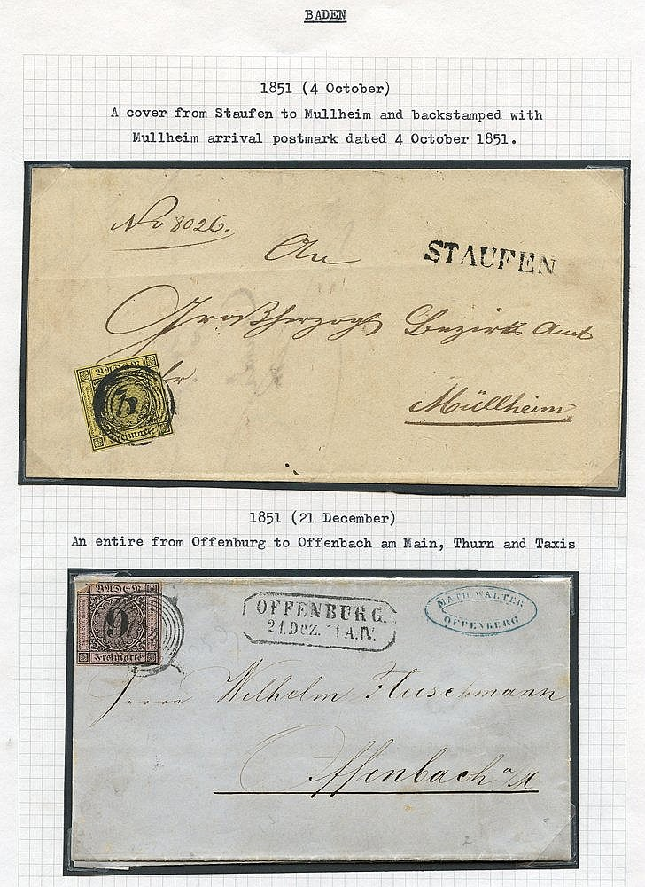 BADEN 1718-1860's fine original lot neatly written up on leaves i