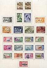KGVI COLLECTION 1937-52 of BWI countries U on philatelic leaves w