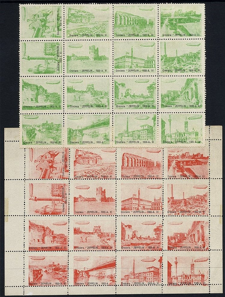 1933 Zeppelin flight around Rome - two sheets (one with margins)