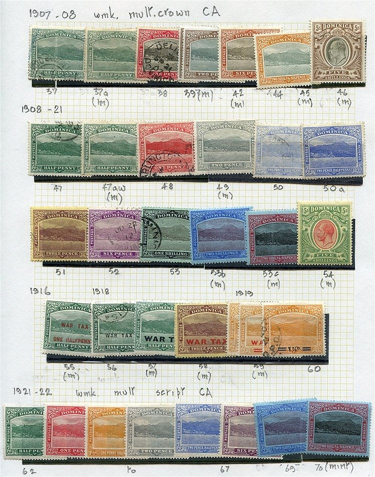 1874-83 M & U collection on leaves with several better incl. KEVI