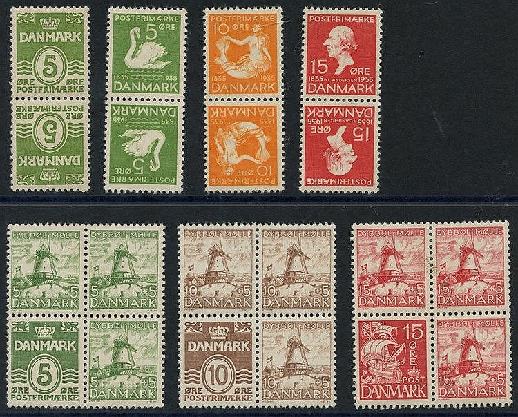 1933 5o tete-beche vertical pair M, SG.268a, 5o, 10o & 15o Dyboll