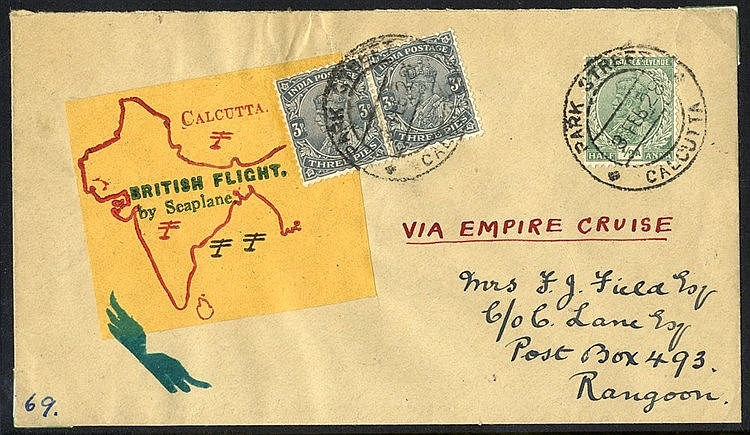 1927 Feb 3rd RAF Empire Cruise flight Calcutta - Rangoon cover wi