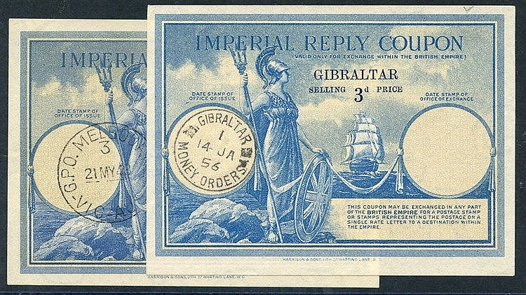 IMPERIAL REPLY COUPONS (2) 1st Australia 3d VFU with GPO Melbourn