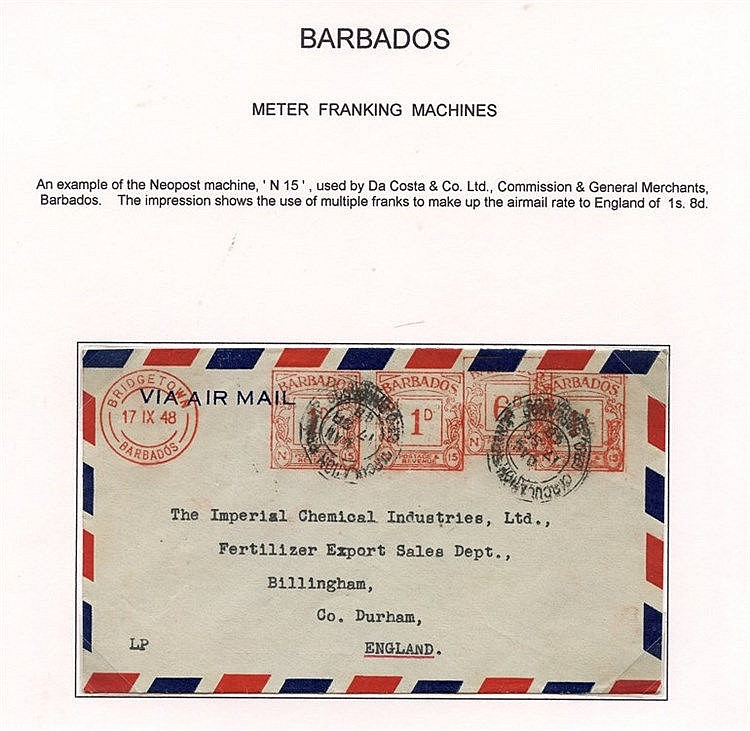 B.W.I METER FRANKING MACHINES 1946-48 two covers of the Neopost m