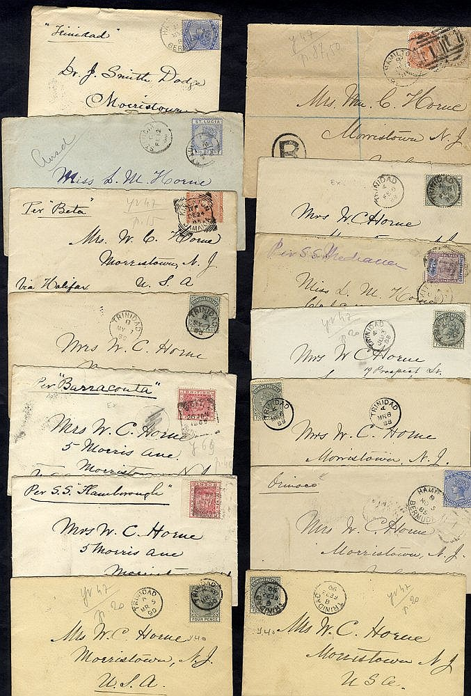 B.W.I 1884-93 range of covers (13) to USA from St Lucia, Bermuda,