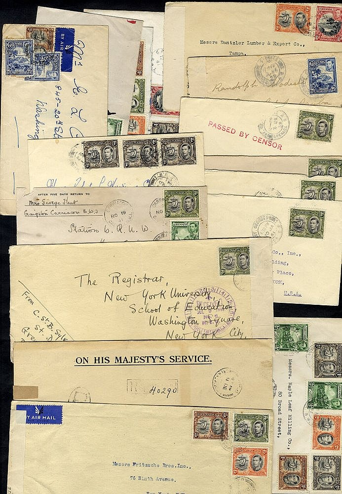 WWII covers to USA with s/line PASSED BY CENSOR in red (6) others