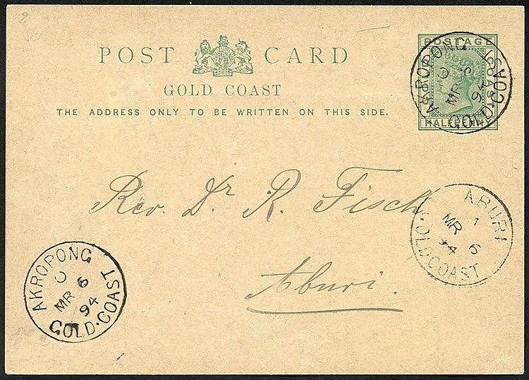 1894 (6 Mar) ½d stationery card to Aburi, cancelled by superb 'AK