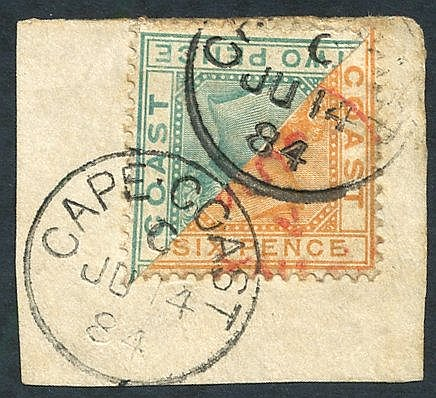 1884 6d orange bisected diagonally, with a bisected 2d on small p