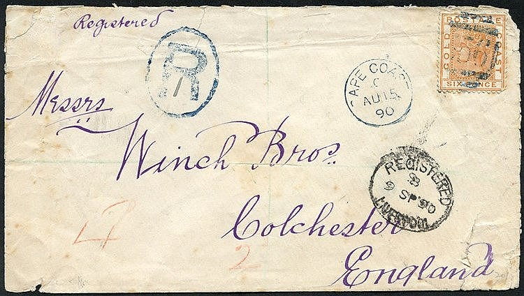 1890 (15 Aug) Winch Bros' envelope (small faults) reg to Colchest