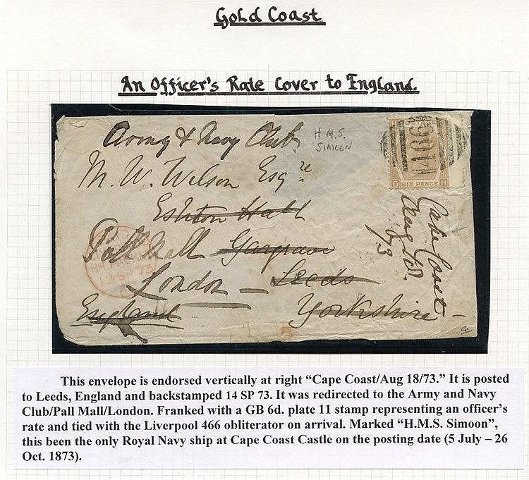 1873 (18 Aug) env to Leeds & re-addressed to London, bearing GB 6