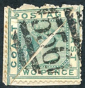 1884 2d green, two diagonally bisects on fragment, cancelled '556