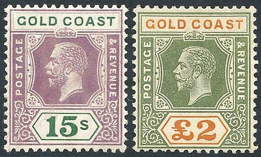 1921-24 MSCA 15s Die II & £2, fresh M, SG.100a & 102. Scarce. (2)