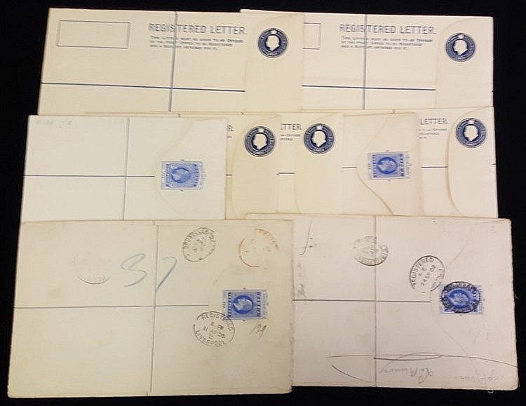 1902-Modern registered stationery envelopes comprising KEVII 2s u