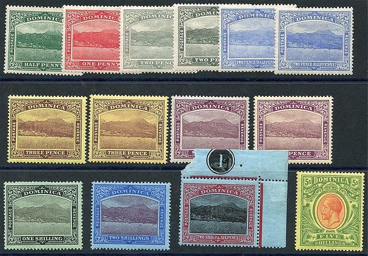 1908-20 MCCA set + extra 2d, 2½d, 3d & 6d shades, M (13), SG.47/5