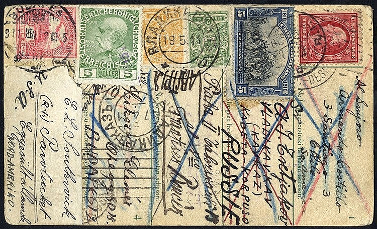 ESPERANTO CARDS 1908-37 showing a multitude of adhesives, three s