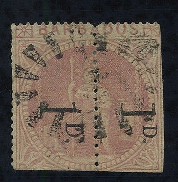 1878 1d Provisional - an unsevered pair comprising Types A & C re
