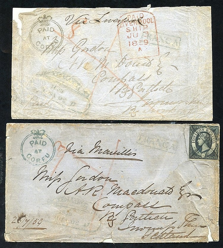 Ionian Islands - 1859 covers (2) both from same correspondence fr