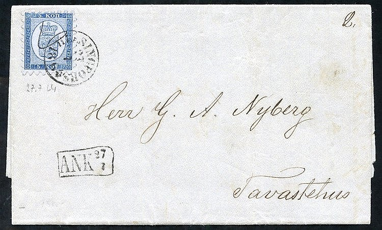 1864 cover to Tavastehus franked 5 Kopek blue Mi. 3A tied fine He