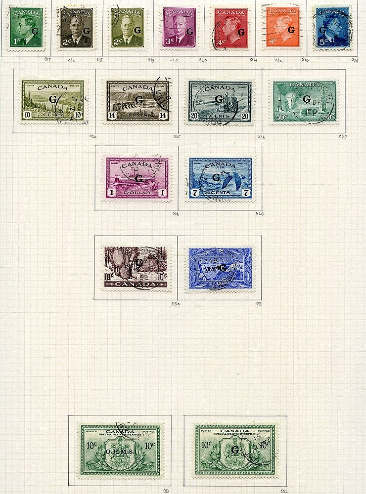 1937-51 complete basic issues U on philatelic leaves incl. coil s
