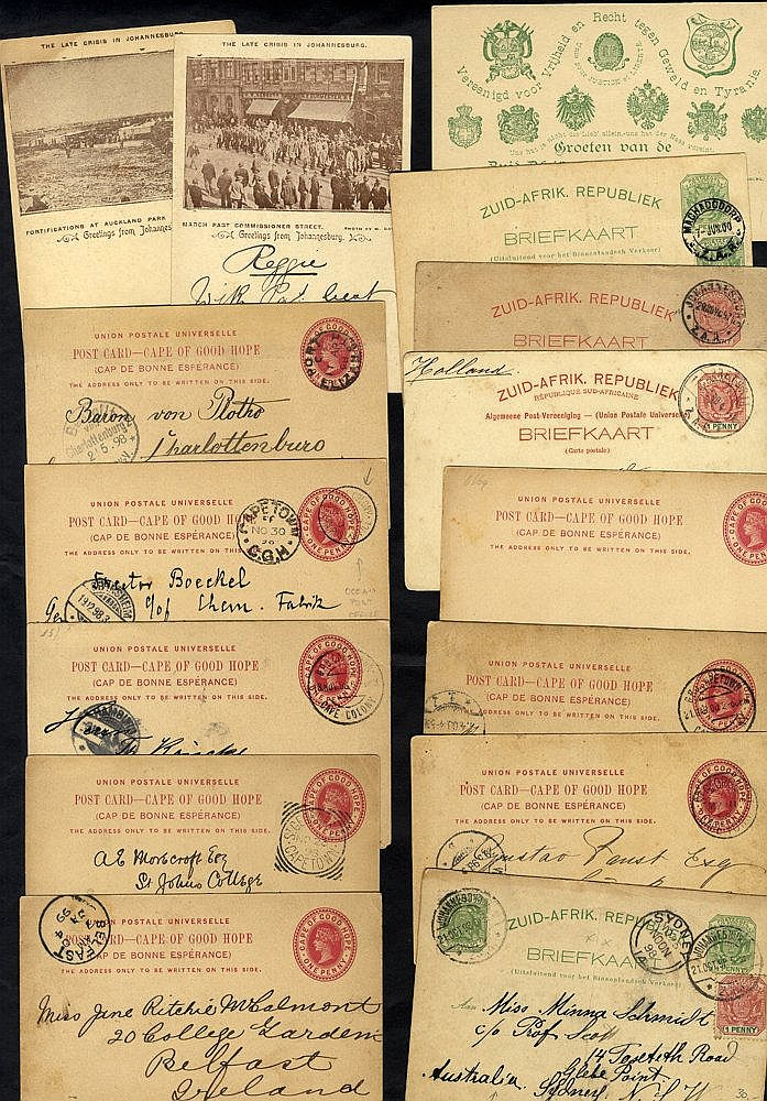 1897-1900 range of stationery 1d cards to Germany, cancelled G.P.