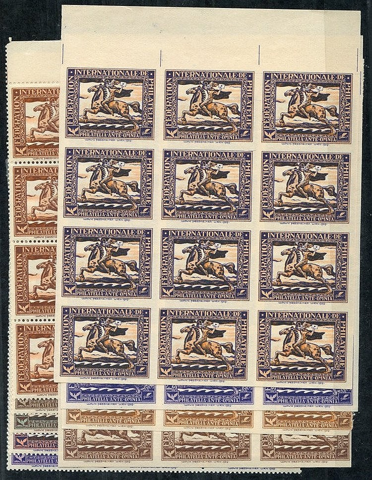 1929 International Philatelic Federation labels depicting mounted