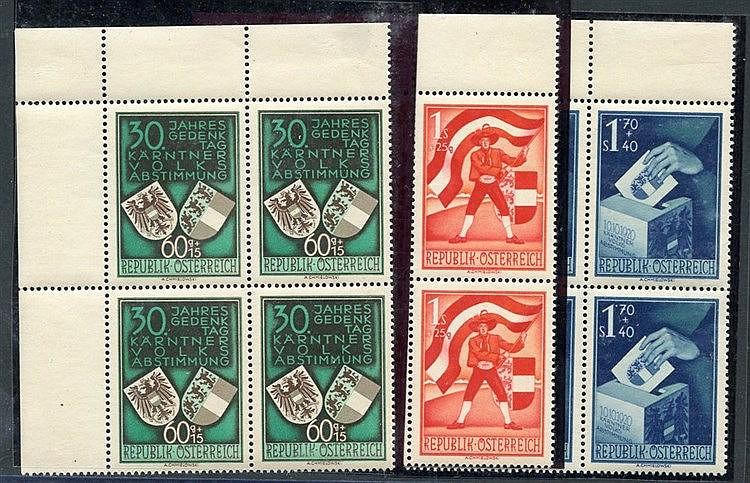 1950 Carinthian Plebiscite in fresh M corner blocks of four (stam