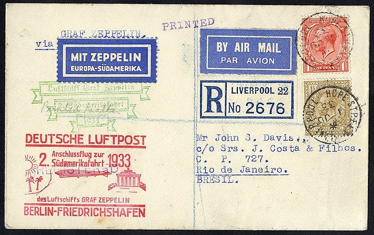 1933 2nd South America flight registered cover from Liverpool flo