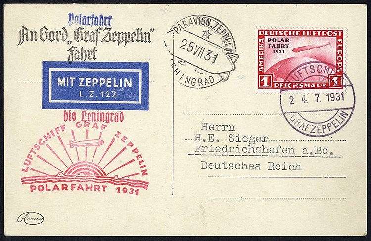 1931 Polar flight PPC showing LZ127, bears 1m Polar Zeppelin adhe