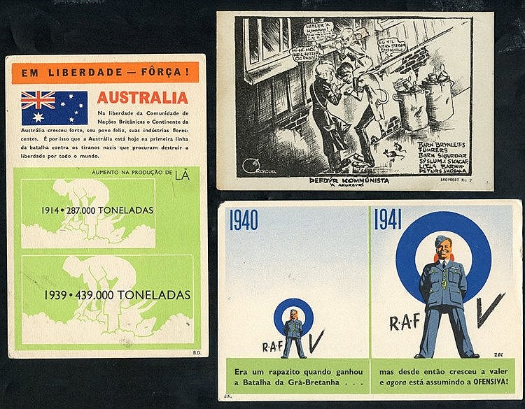 WWII propaganda postcards - group of different, unused cards incl