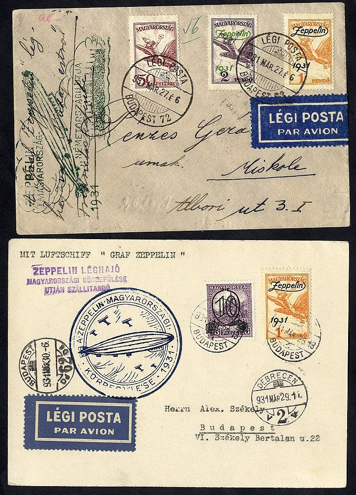 1931 Hungary return flight to Budapest, franked 50f Air + 1p & 2p