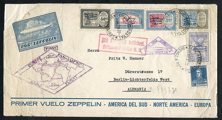 1930 South America flight Official illustrated envelope, franked