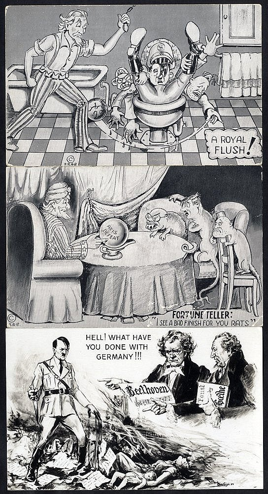 WWII PROPAGANDA CARDS group of mostly American anti-Hitler & Axis
