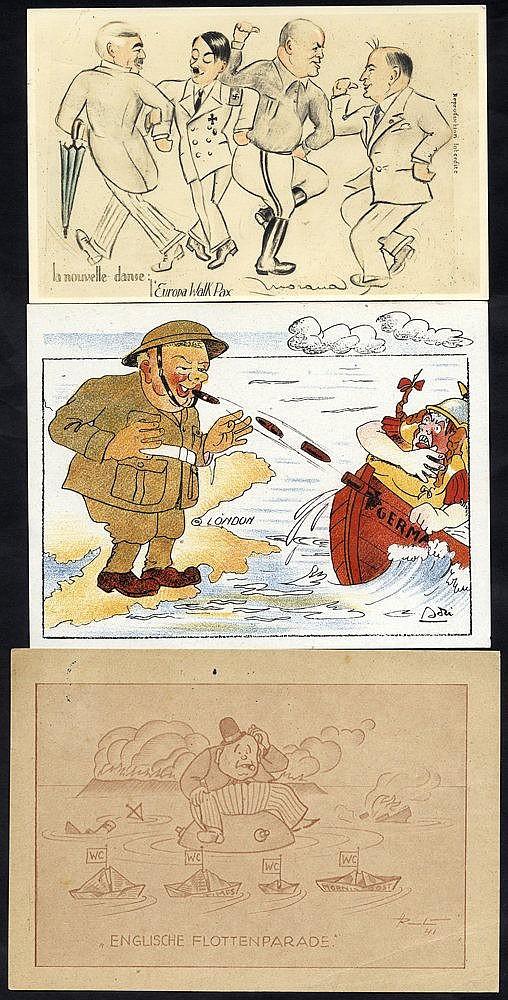 WWII CHURCHILL & CHAMBERLAIN propaganda cards (10) incl. seldom s