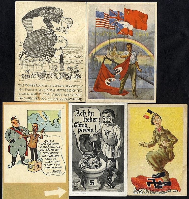 WWII PROPAGANDA CARDS (12) mostly German comic types from various