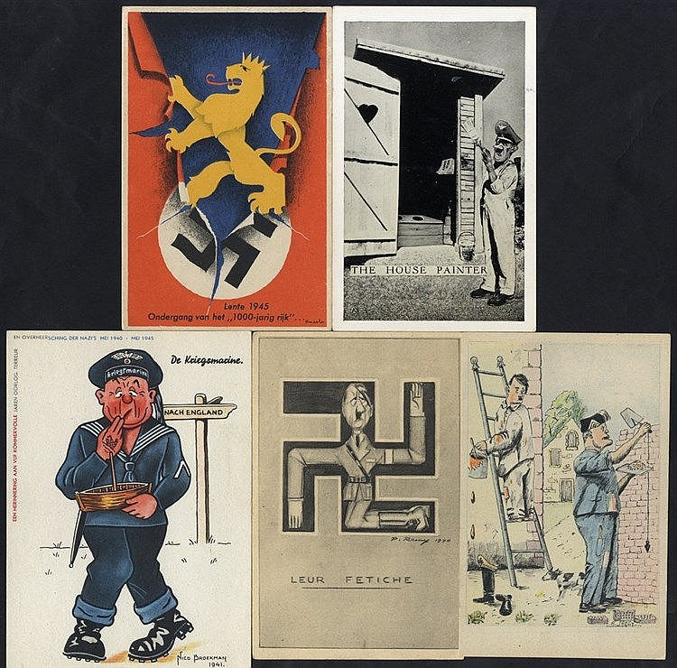 WWII PROPAGANDA CARDS interesting range of 35 cards from various