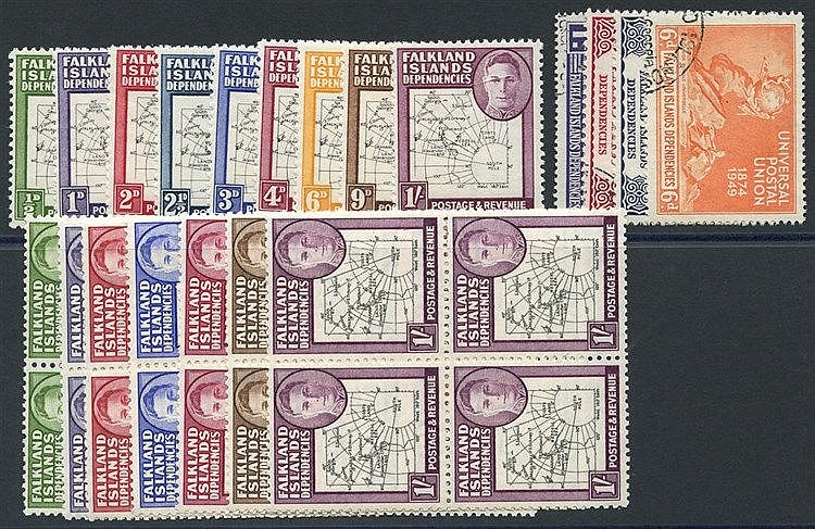 1946 Thick Maps set (excl. 6d) each UM block of four with variety