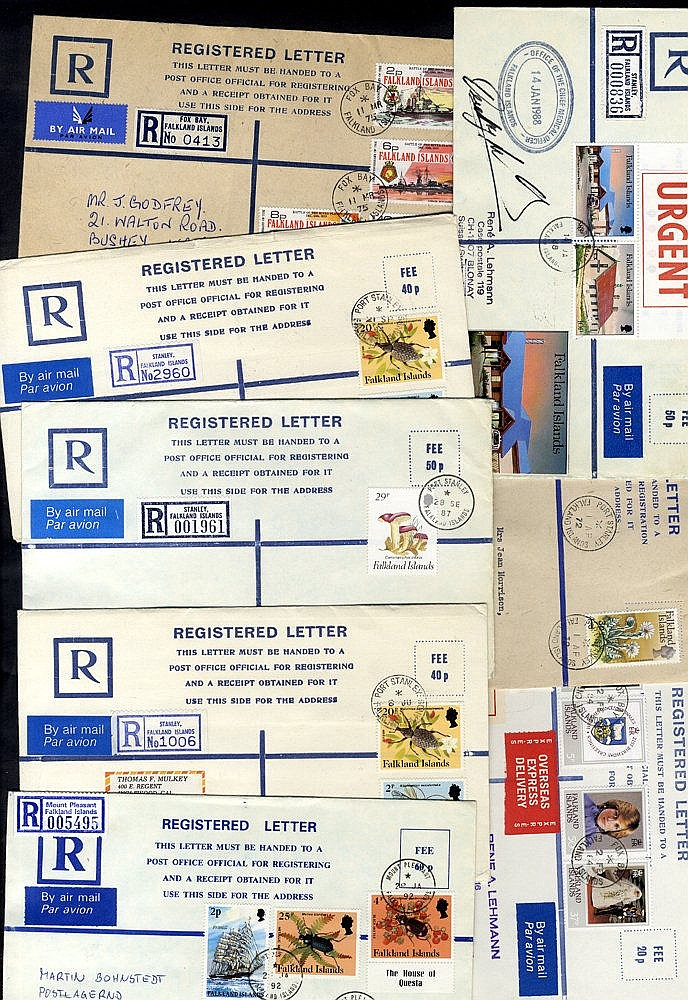 1972-92 range of 45 registered postal stationery envelopes, 18 ar