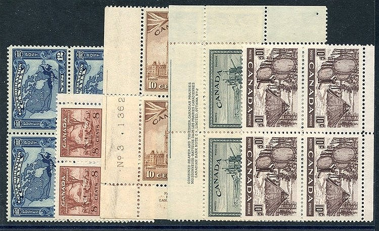 1927 Confederation 12c blue (SG.270), 1942 War Effort 8c & 10c (S