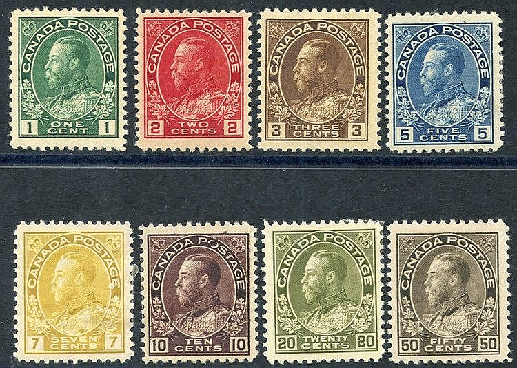 1911-22 KGV Defin set M, SG.196/215. (8) Cat. £275