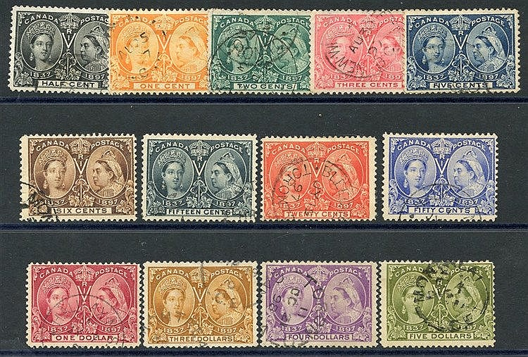 1897 Jubilee set, VFU (excl. 8c, 10c & $2) - the $3 & $4 have sma