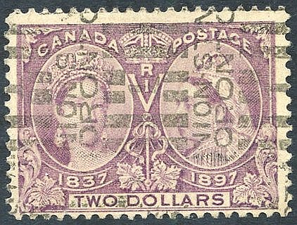1897 Jubilee $2 deep violet (colour slightly faded), FU with Toro