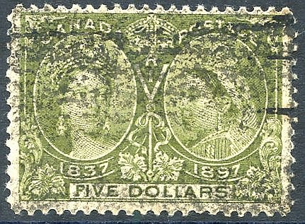 1897 Jubilee $5 olive green, Av U example, SG.140, Cat. £700.