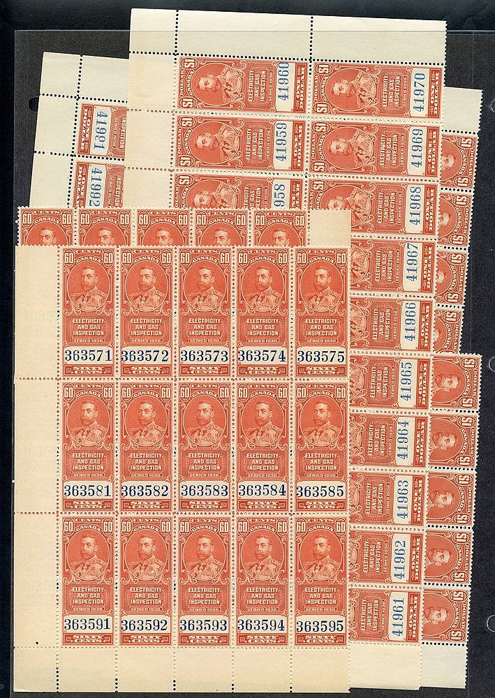REVENUES 1930 George V Electricity & Gas $1 pane of 50 (broken in